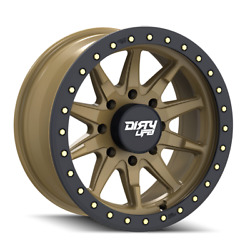 8x165.1 Wheels 17 Inch Rims Dirty Life 17x9 -12mm Satin Gold W/simulated Ring