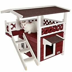 Outdoor Cat House With Escape Door For Feral Cats Weatherproof 2 Wine Red