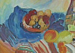 Maximilian Hammerl 1908 - 1983 - Still Life With Fruits And Wine Bottle
