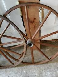 Antique Vintage Wooden Wagon Buggy Stroller Wheel Circa Early 1900and039s