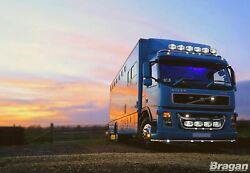 Grill Bar + Jumbo Led Spots + Side Leds For Volvo Fm Series 2and3 Stainless Steel