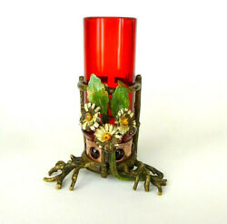 Viennese Bronze Vase About 1890 Ruby Glass B-2630