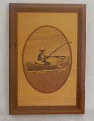 Hudson River Inlay Fisherman In Boat W Pole / Net Framed Art Marquetry By Nelson