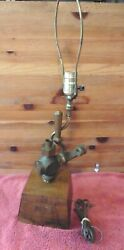 Antique R.m.s. Queen Mary Table Lamp Brass Bronze Valve Wooden Base Vintage 24