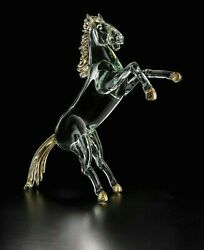 Horse Prancing In Murano Glass Sculpture Figure Art Made In Italy