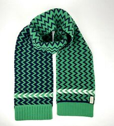 New Green Blue Wool Long Scarf With Zig Zag Pattern 550597 3768