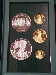 1993 Us Mint Philadelphia Set 5 Coin Gold And Silver Proof Set -complete As Issued