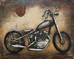 Museum Quality Highly Three Dimensional Harley Davidson Painting Artwork Decor