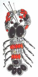 Chris Couch Moans Couture Vrba Lobster Necklace Brooch Red Black Convertible