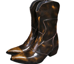 Fashion Mens Size 5-12 Brown Genuine Leather Zip Tall Boots Cowboy Dress Shoes