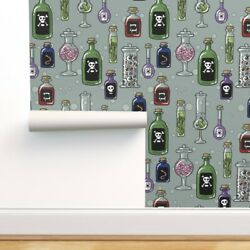 Wallpaper Roll Poison Halloween Spooky Bottles Mad Scientist Witch 24in X 27ft