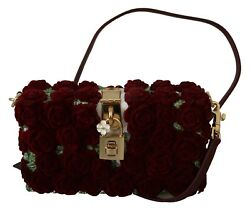 Dolce And Gabbana Bag Box Red Roses Gold Padlock Resin Evening Clutch Borse 4000