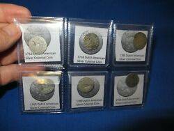 6 Silver Early American Colonial Coins Before Us Minted Coins Free Shipping