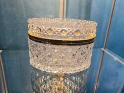 Antique Bohemian Cut To Clear Glass Crystal Box With Gilded Metal Mount
