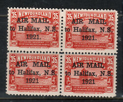 Newfoundland C3 C3b C3f C3h Very Fine Mint Block With Four Types Of Ovrpts