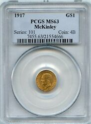 1917 Mckinley G1 Commemorative Gold Dollar Coin Pcgs Ms 63