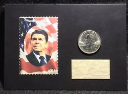 2020 The Bar Pieces Of The Past Ronald Reagan Stamp / Quarter / Pennant Relic