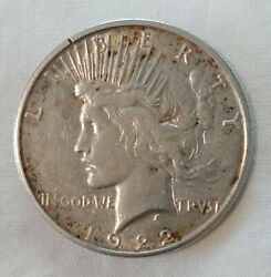 Rare 1922-s Liberty Peace Gold-toned Dollar Silver 1 Coin Us Currency