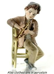 Figurine Porcelain Boy Musician Trumpet Player Music Made By Hand In Italy