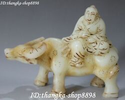 9 Chinese Old Jade Carving Ancient People Man Human Ride Ox Oxen Animal Statue