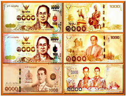 2015_17_18 Thailand Commemorative Lot Of 3 X 1000 Notes Of The King Rama Ix And X
