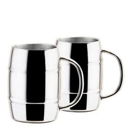 Old Dutch Stainless Steel Mugs Double Walled Dishwasher Safe 33.8 Oz. Set Of 2