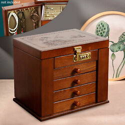 5 Drawers Wooden Carved Case Cabinet Chest For Home Jewelry Treasure Organizer