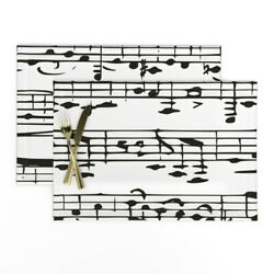 Cloth Placemats Music Note Notes Black White Musician Piano Musical Set Of 2