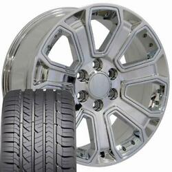 Chrome 22x9 5661 Wheels And Goodyear Tires Fits Chevy Gmc Cadillac
