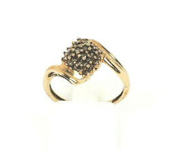 Vintage New Old Stock 10k Yellow Gold Ring With Diamonds Size 6.75
