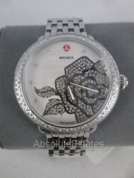 New Michele Serein Pave Rose Silver Limited Edition Watch Diamond Mw21a01a1058