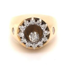 Rare Floating Round Diamond And Yellow Gold Ring - 14k