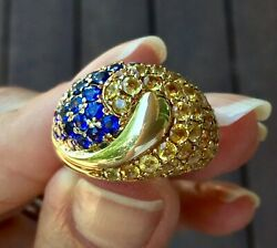 Heavy Sapphire Dome Cocktail Ring 14k Yellow Gold 10.2 Grams