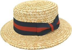 Menand039s Natural Boater Hat 100 Straw Stiff Finish Skimmer By Bruno Capelo