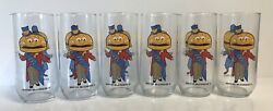 Lot 6 Cups Mayor Mccheese Mcdonalds Glass Cup Mug 1970s Collector Series Vintage