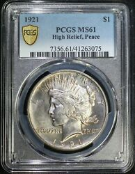 1921 P Peace Silver Dollar Pcgs Ms61 High Relief Key Date Low Mintage