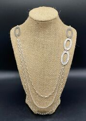 Silpada-sterling Silver Hammered Oval Link 3 Strand Layered Necklace N1720