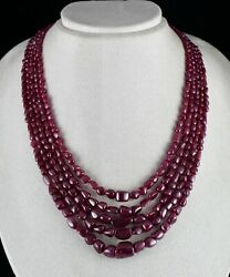 Natural Untreated Ruby Beads Uneven Tumble 5 L 715 Cts Gemstone Finest Necklace
