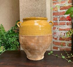 19th Century Large French Confit Pot Yellow Glazed Pottery Provincial Farmhouse