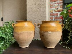 19th Century Pair Set 2 French Confit Pot Yellow Glazed Pottery Provincial