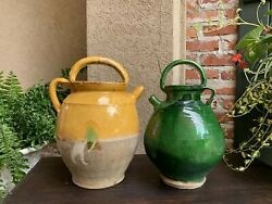 19th Century Pair French Confit Jug Pot Yellow Green Glazed Pottery Provincial