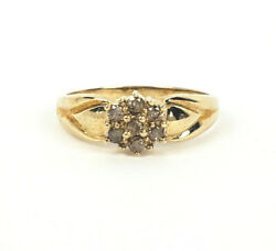 Vintage 10k Yellow Gold New Old Stock Ring With Diamonds Size 7.75
