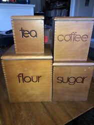 Vintage Wooden Kitchen Canister 4 Pc Set Square Nesting Mid Century Modern Retro