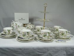 Wedgwood Wild Strawberry Complete Tea Set And 3 Tier Cake Stand Magnificent