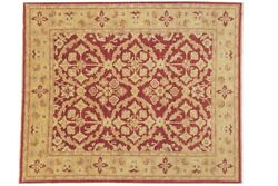Afghan Chobi Ziegler Carpet Hand Knotted 240x290 Gold Floral Pattern Wool