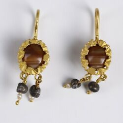 Pair Of Ancient Roman Gold Earrings With Agate Pearl And Glass Beads Jewellery