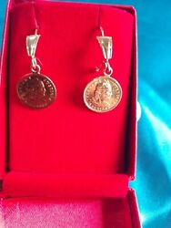 Earrings Made In Peruvian Antique Coins Of 21 Kl Solid Gold