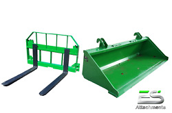 John Deere Jd 66 Smooth Bucket And 42 Pallet Forks Combo Local Pickup