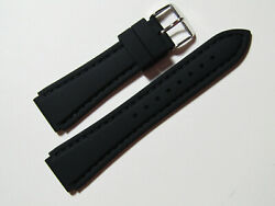 18mm Hadley-roma Ms3346 Black Silicone Rubber Waterproof Dive Watch Band Strap