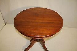 Great Victorian Solid Walnut Round Parlor Table On Casters C. 19th Century